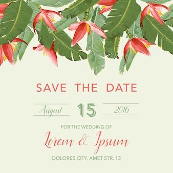Carte d'invitation de mariage avec des fleurs tropicales