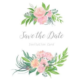 Carte d'invitation de mariage de fleurs