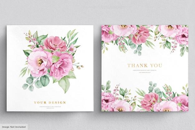Carte d'invitation de mariage avec des fleurs