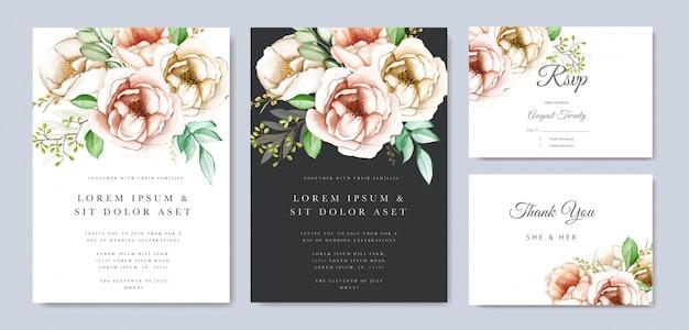 Carte d'invitation de mariage floral aquarelle coloré