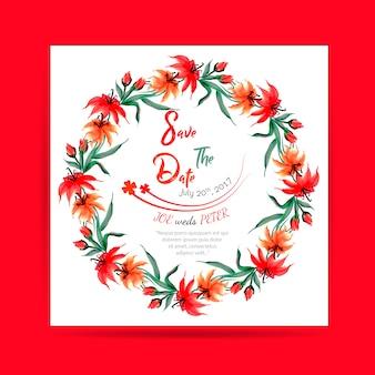 Carte d'invitation de mariage floral à l'aquarelle dessinée à la main