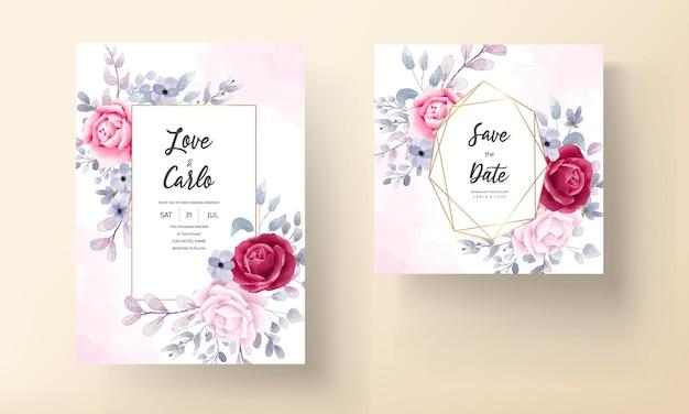 Carte d'invitation de mariage floral aquarelle élégante