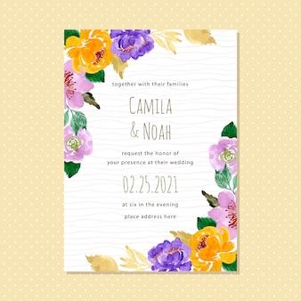 Carte d'invitation de mariage floral aquarelle avec la ligne d'onde