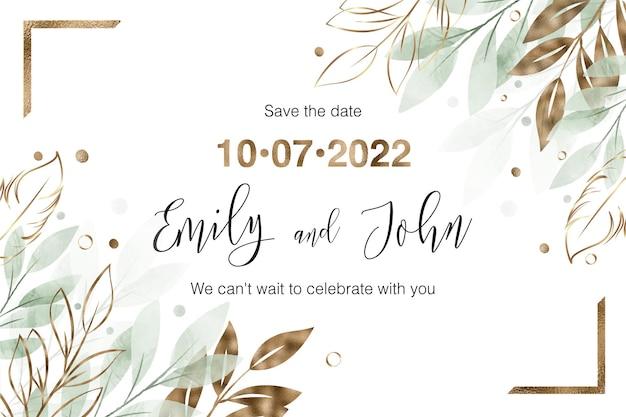 Carte d'invitation de mariage floral aquarelle et or