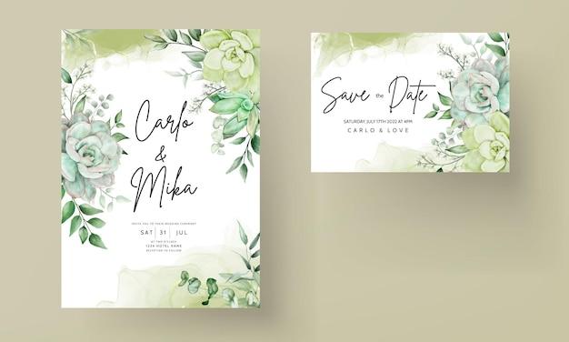 Carte d'invitation de mariage floral aquarelle verdure élégante