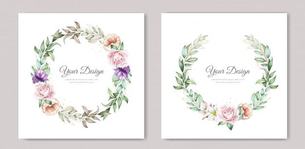 Carte d'invitation de mariage avec floral aquarelle vert tendre