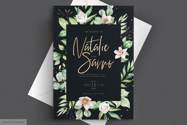 Carte d'invitation de mariage floral aquarelle