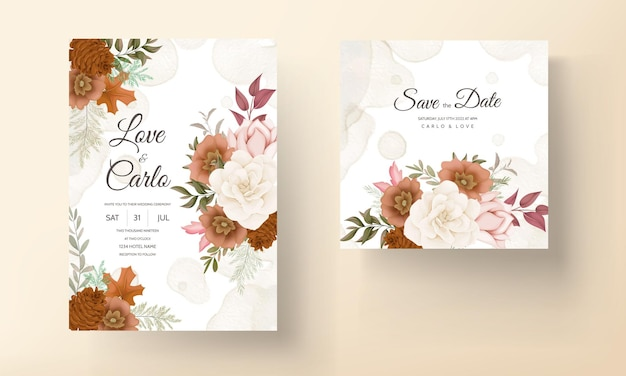 Carte d'invitation de mariage floral automne élégante avec fleur de rose et de pin