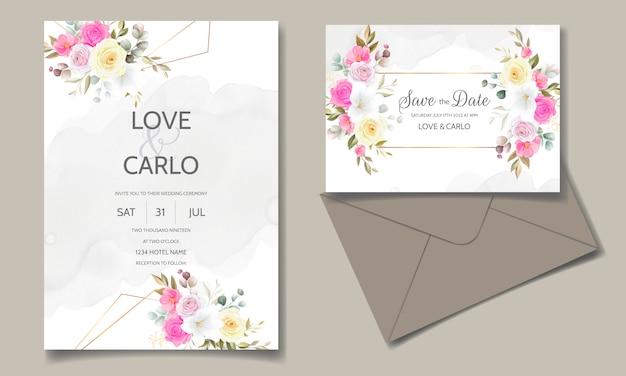 Carte d'invitation de mariage floral beau printemps