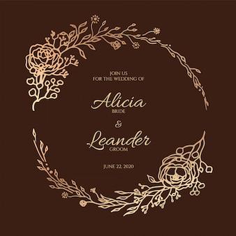 Carte d'invitation de mariage floral de belles feuilles. couronne décorative, modèle de cadre.