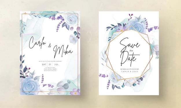 Carte d'invitation de mariage floral bleu glace dessin à la main élégante