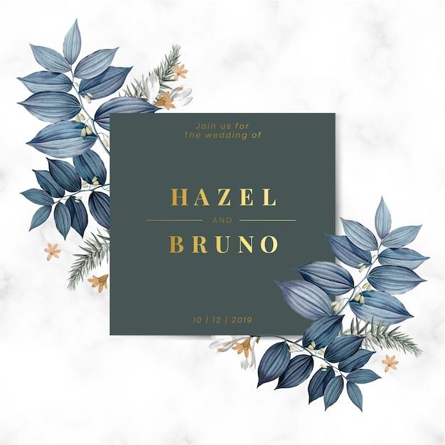 Carte d'invitation de mariage floral bleu
