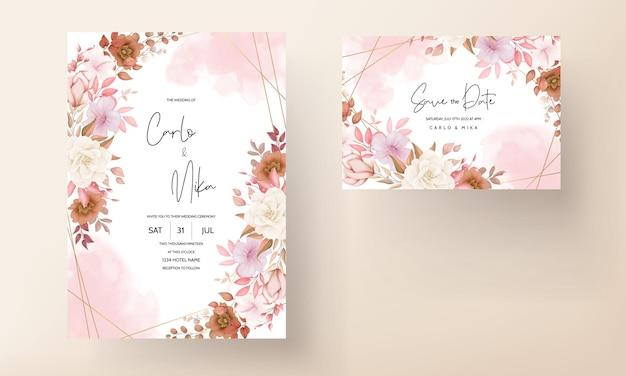 Carte d & # 39; invitation de mariage floral boho