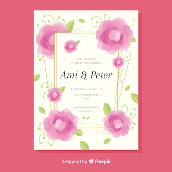 Carte d'invitation de mariage floral avec cadre doré