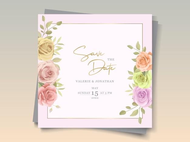 Carte d'invitation de mariage floral coloré doux et élégant