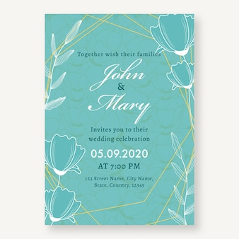 Carte d'invitation de mariage floral en couleur turquoise avec détails de l'événement.