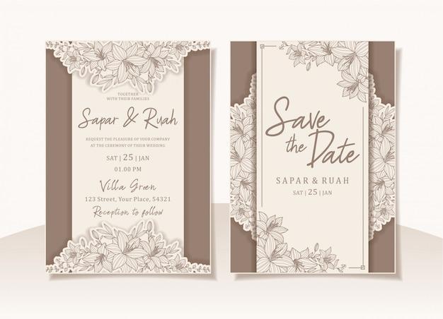 Carte d'invitation de mariage floral avec croquis de luxe élégant