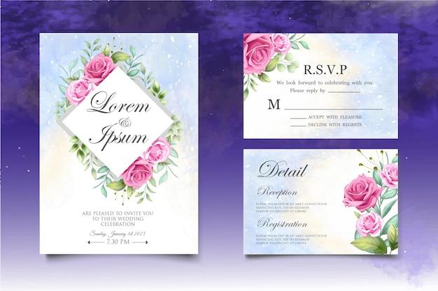 Carte d'invitation de mariage floral dessin à la main