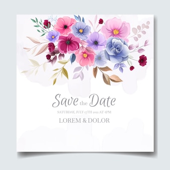Carte d'invitation de mariage floral dessiné main coloré