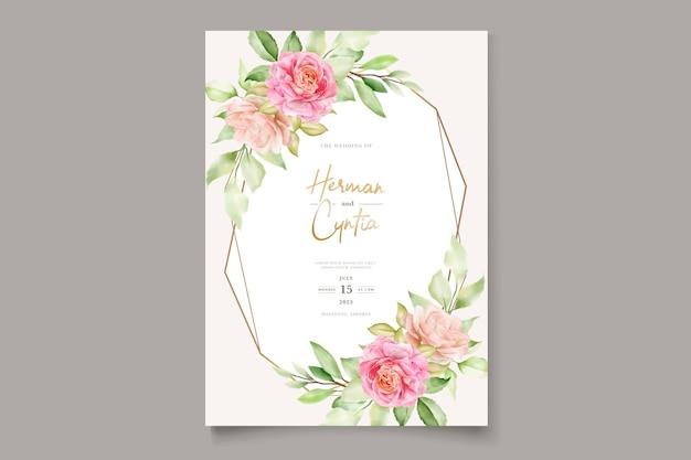 Carte d'invitation de mariage floral dessiné à la main