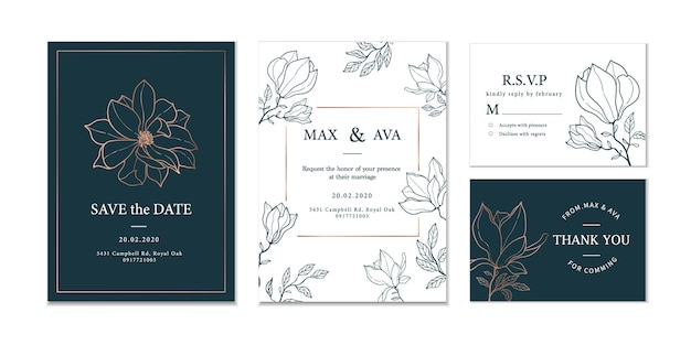 Carte d'invitation de mariage floral dessiné à la main