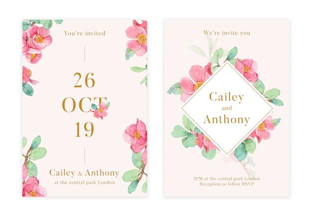 Carte d'invitation de mariage floral dessiné main