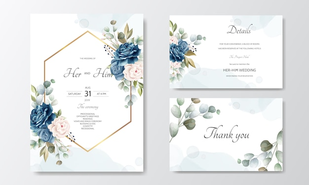 Carte d'invitation de mariage floral dessiné main