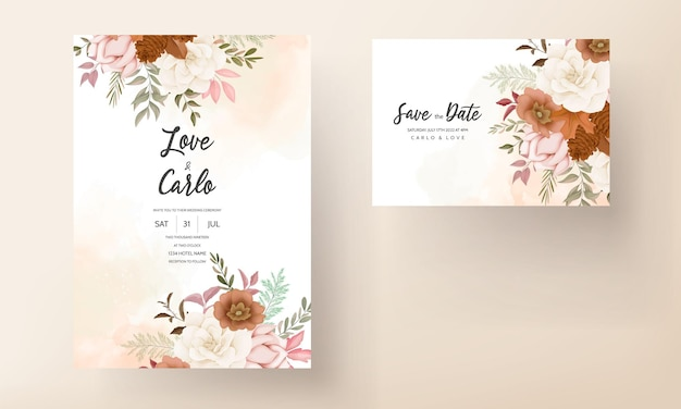 Carte d'invitation de mariage floral doux dessiné à la main élégante