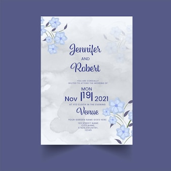 Carte d'invitation de mariage floral avec effet aquarelle en couleur grise et bleue.