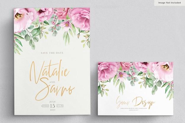 Carte d'invitation de mariage floral élégant dessiné à la main aquarelle