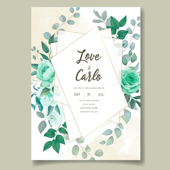 Carte d'invitation de mariage floral élégant dessiné à la main