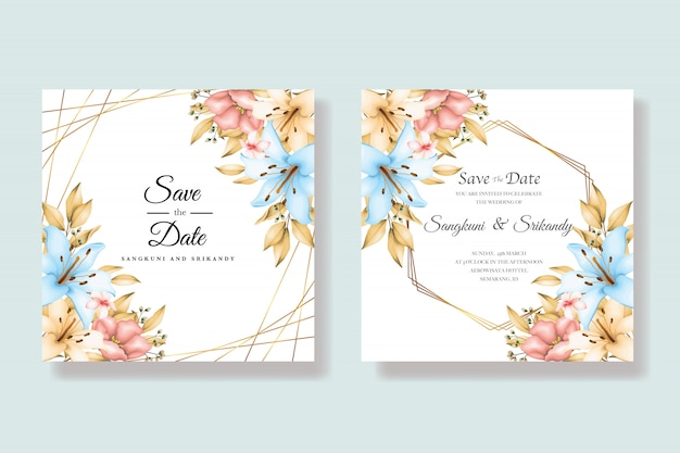 Carte d'invitation de mariage floral élégant