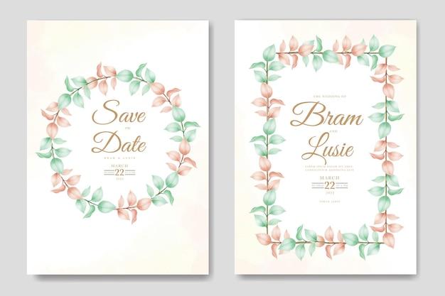 Carte d'invitation de mariage floral et feuilles aquarelle