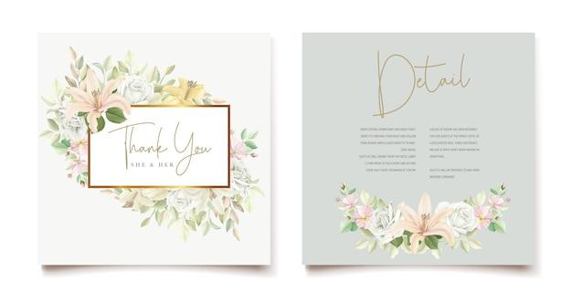 Carte d'invitation de mariage floral lily