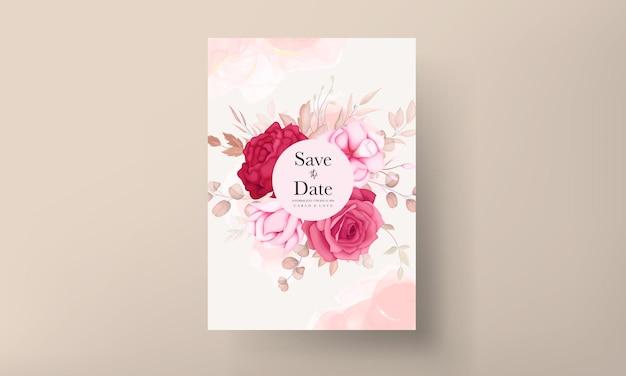 Carte d'invitation de mariage floral marron dessiné à la main romantique