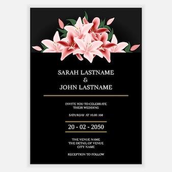 Carte d'invitation de mariage floral minimal de lys