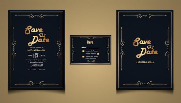Carte d'invitation de mariage floral monoline moderne