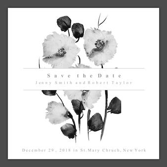 Carte d'invitation de mariage floral noir et blanc aquarelle