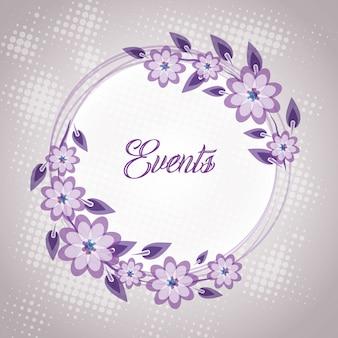 Carte d'invitation de mariage floral pourpre
