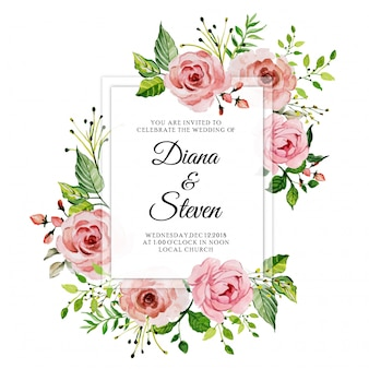 Carte d'invitation de mariage floral rose rose aquarelle