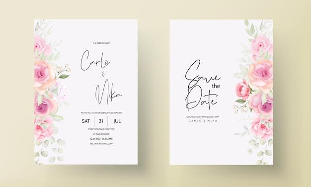 Carte d'invitation de mariage floral rose tendre