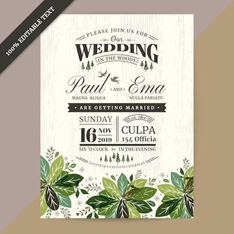 Carte d'invitation de mariage floral avec texte modifiable
