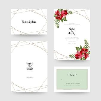 Carte d'invitation de mariage floral
