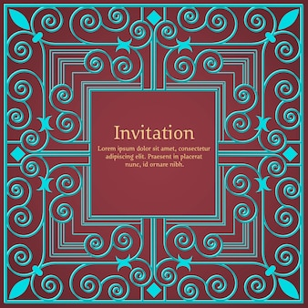 Carte d'invitation ou de mariage avec fond floral et éléments floraux élégants.