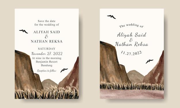 Carte d'invitation de mariage avec fond de paysage de montagnes sauvages aquarelle