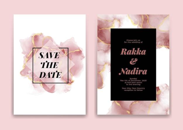 Carte d'invitation de mariage avec des formes de vagues roses dorées aquarelle
