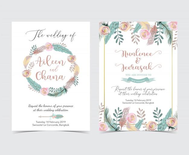 Carte d'invitation de mariage géométrique or avec fleur, feuille, couronne et cadre