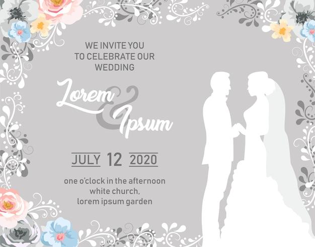 Carte d'invitation de mariage en gris