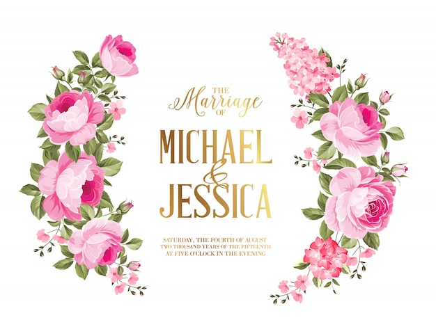 Carte d'invitation de mariage de guirlande rose pour carte de mariage.