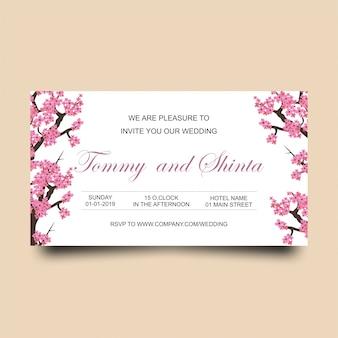 Carte d'invitation de mariage horizontale avec des fleurs de cerisier